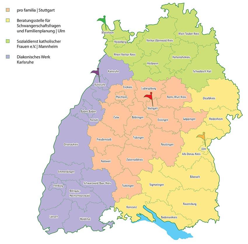 Standorte und Regionen IuV Stellen BW